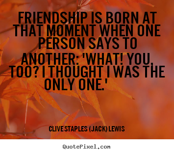 Quotes about friendship - Friendship is born at that moment when one person says..