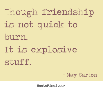 Quotes about friendship - Though friendship is not quick to burn,it is explosive stuff.