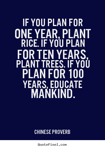 Design poster quotes about inspirational - If you plan for one year, plant rice. if you plan for ten years,..