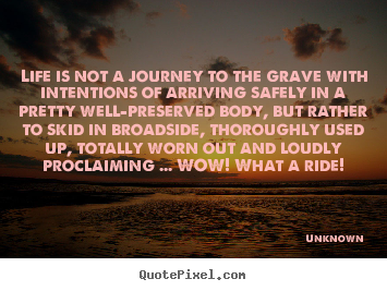 Quote about life - Life is not a journey to the grave with intentions of arriving..