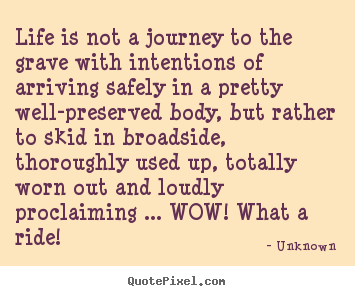 Life is not a journey to the grave with.. Unknown popular life quote