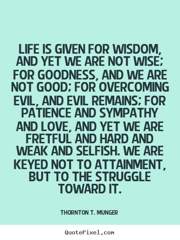 Life quote - Life is given for wisdom, and yet we are not..