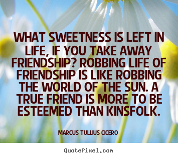 Sayings about life - What sweetness is left in life, if you take away friendship? robbing..