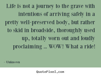 Customize image quote about life - Life is not a journey to the grave with intentions..