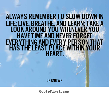 Always remember to slow down in life; live, breathe, and learn; take.. Unknown greatest life quotes