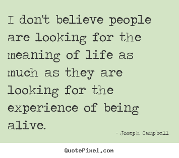 I don't believe people are looking for the meaning of.. Joseph Campbell great life quotes