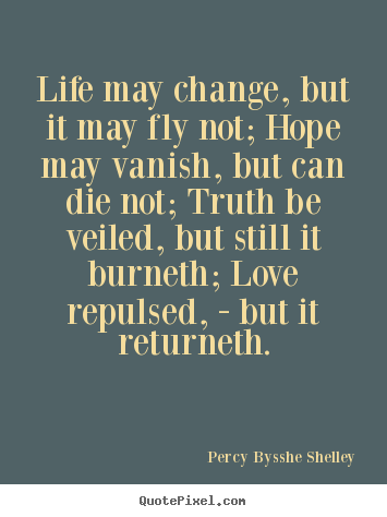 How to design picture quote about life - Life may change, but it may fly not; hope may vanish, but can..