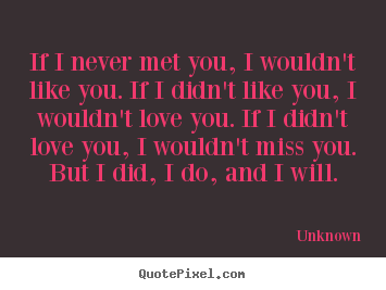 Quotes about love - If i never met you, i wouldn't like you. if i didn't like you,..