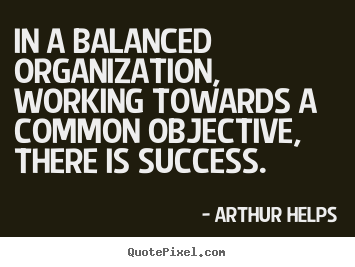 How to make photo quote about success - In a balanced organization, working towards..