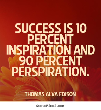 Make personalized picture quotes about success - Success is 10 percent inspiration and 90 percent perspiration.
